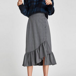 ZARA l Plaid Skirt with Ruffles